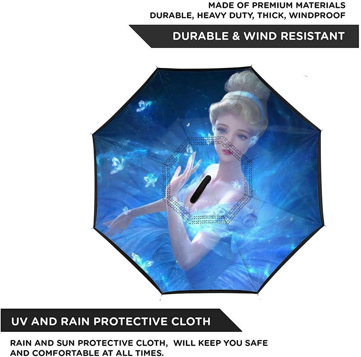 With C-Shaped Handle UV Protection Inverted Folding Umbrellas Frozen Girl Princess Dream Car Reverse Umbrella Windproof And Rainproof Double Folding Inverted Umbrella