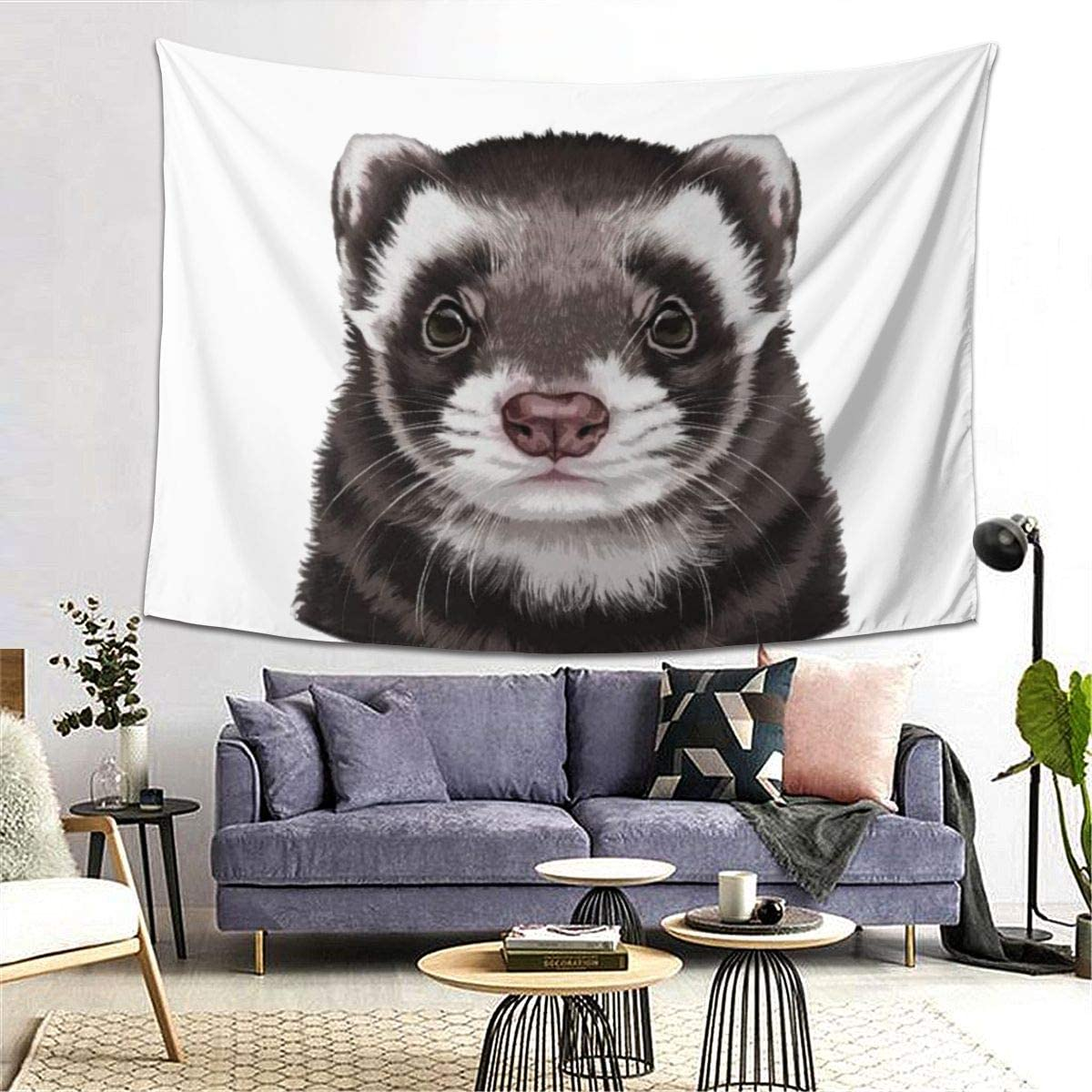 Marrtly Cute Animal Ferret Pet Tapestry Wall Hanging Decorative Wall Art Tapestries for Bedroom,Living Room,Home Decoration 80 X60 in