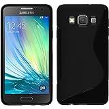 Coque en Silicone pour Samsung Galaxy A3 (A300) - S-Style noir - Cover PhoneNatic Cubierta + films de protection