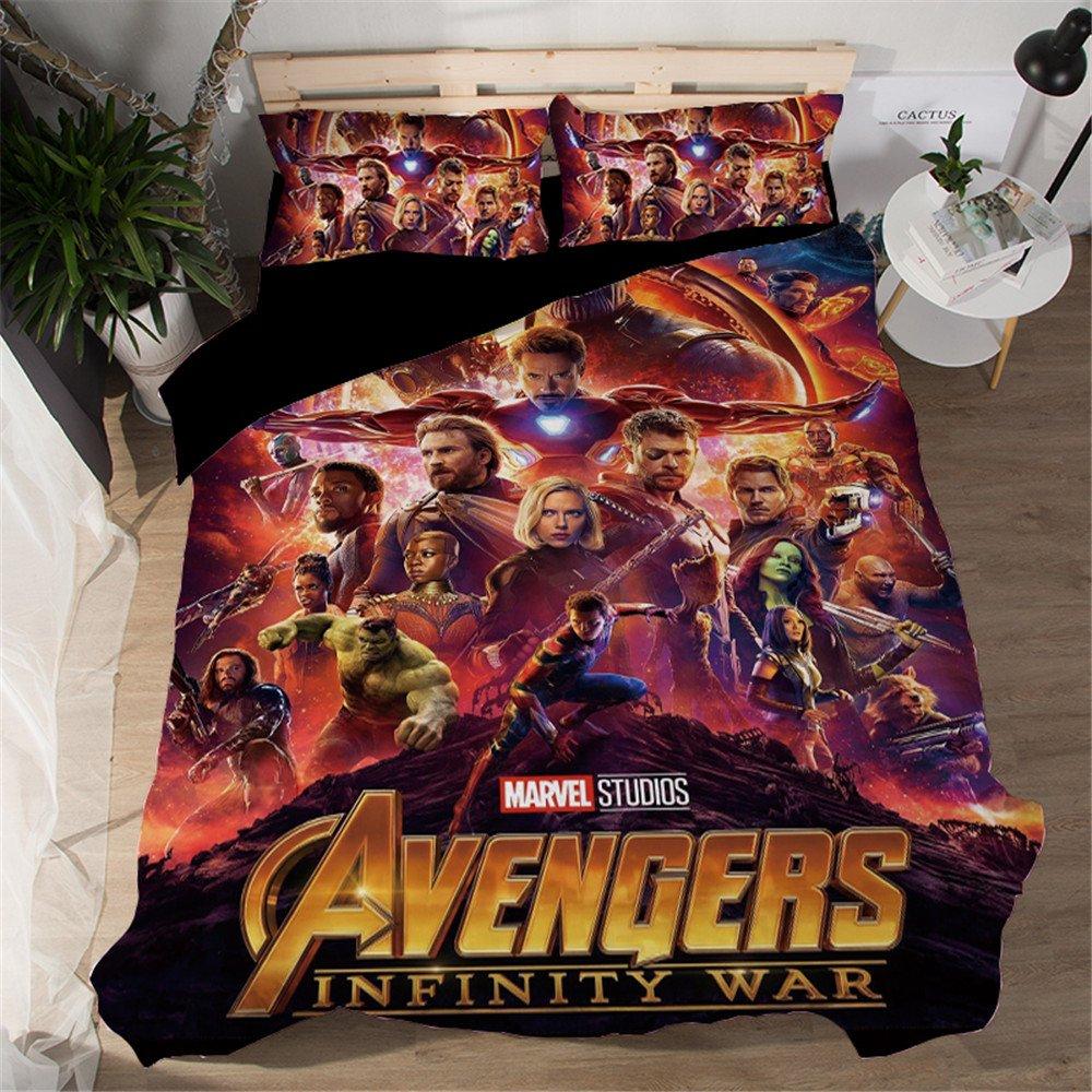 Jameswish Marvel Avengers 3D Duvet Cover Set Spider-Man Iron-Man Printed Bed Cover For Kids
