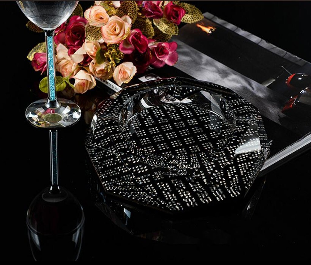 Home Windproof Ashtray Crystal Glass Cigar Living Room Office Indoor And Outdoor Ashtray ( Size : 20CM )