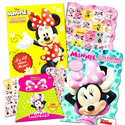 Disney Minnie Mouse Coloring Book Set With Stickers 2 Deluxe Books And Over