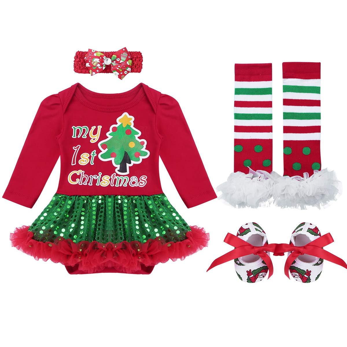 MSemis Infant Baby Girls Christmas Outfits Long Sleeves Shiny Sequins Romper Tutu Dress with Accessories Set
