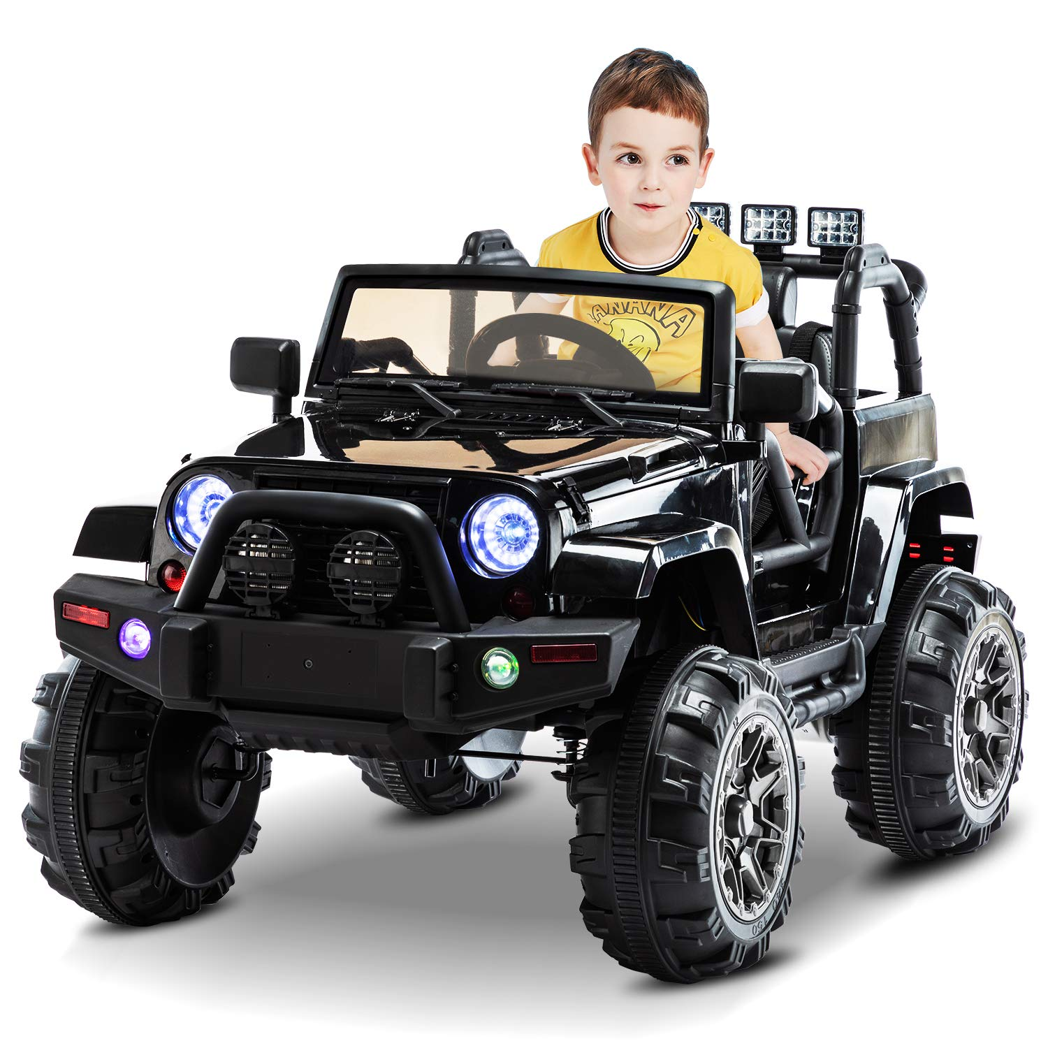 AuAg Electric Ride On Car/Truck Ride on Toys with Parental Remote Control 12V Two Speeds LED Lights MP3 Player Prerecorded Kid Song Easy to Assemble Indoor and Outdoor Gift for Kids