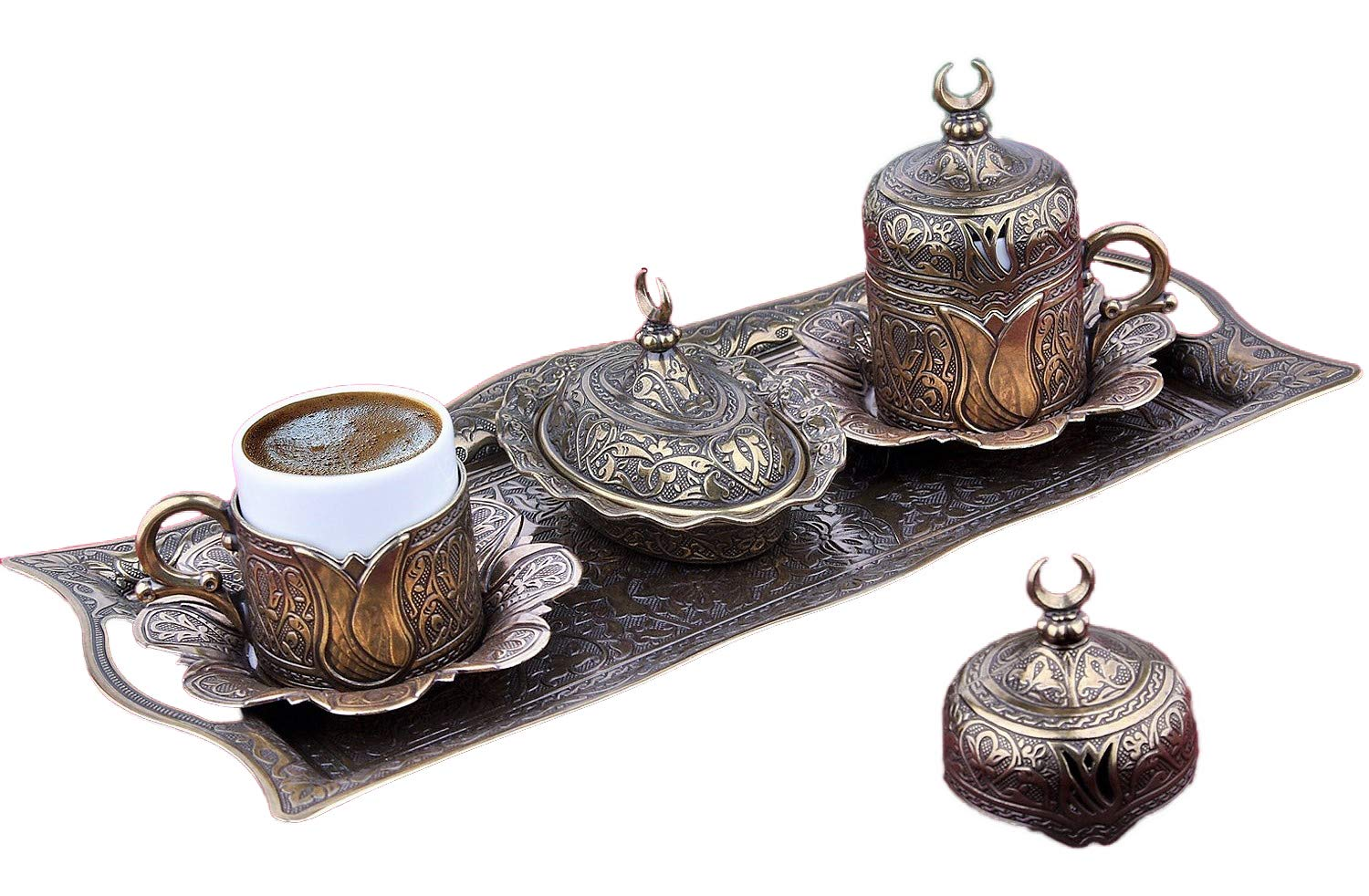 Gold Case Aged Gold plated Turkish, Arabic, Greek and Espresso Coffee Set for 2 - Made in Turkey - 11 pieced set (Aged gold)