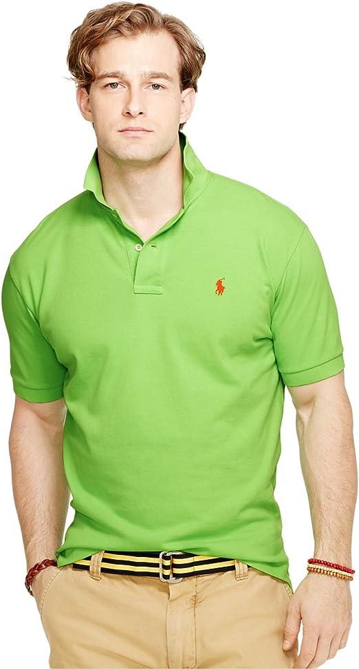 Polo Ralph Lauren hombres Camisa clásica apta Mesh Polo Grande timón verde: Amazon.es: Ropa y accesorios
