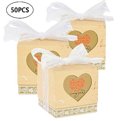 Amazon Uarter 50 Pcs Candy Boxes Heart Favor Unique Wedding
