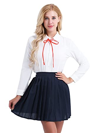 c4eaeb2e5700 TiaoBug Womens School Girl Uniform Suit White Long Sleeve Shirt Navy Blue  Pleated Skirt Set Cosplay Costume White&Navy Blue L: Amazon.co.uk: Toys &  Games