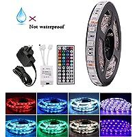 5M RGB LED Strip Lights, 12V 5050 300LEDs Strips Full Kit, Self Adhesive + 44 Key Ir Controller + AU Power Supply