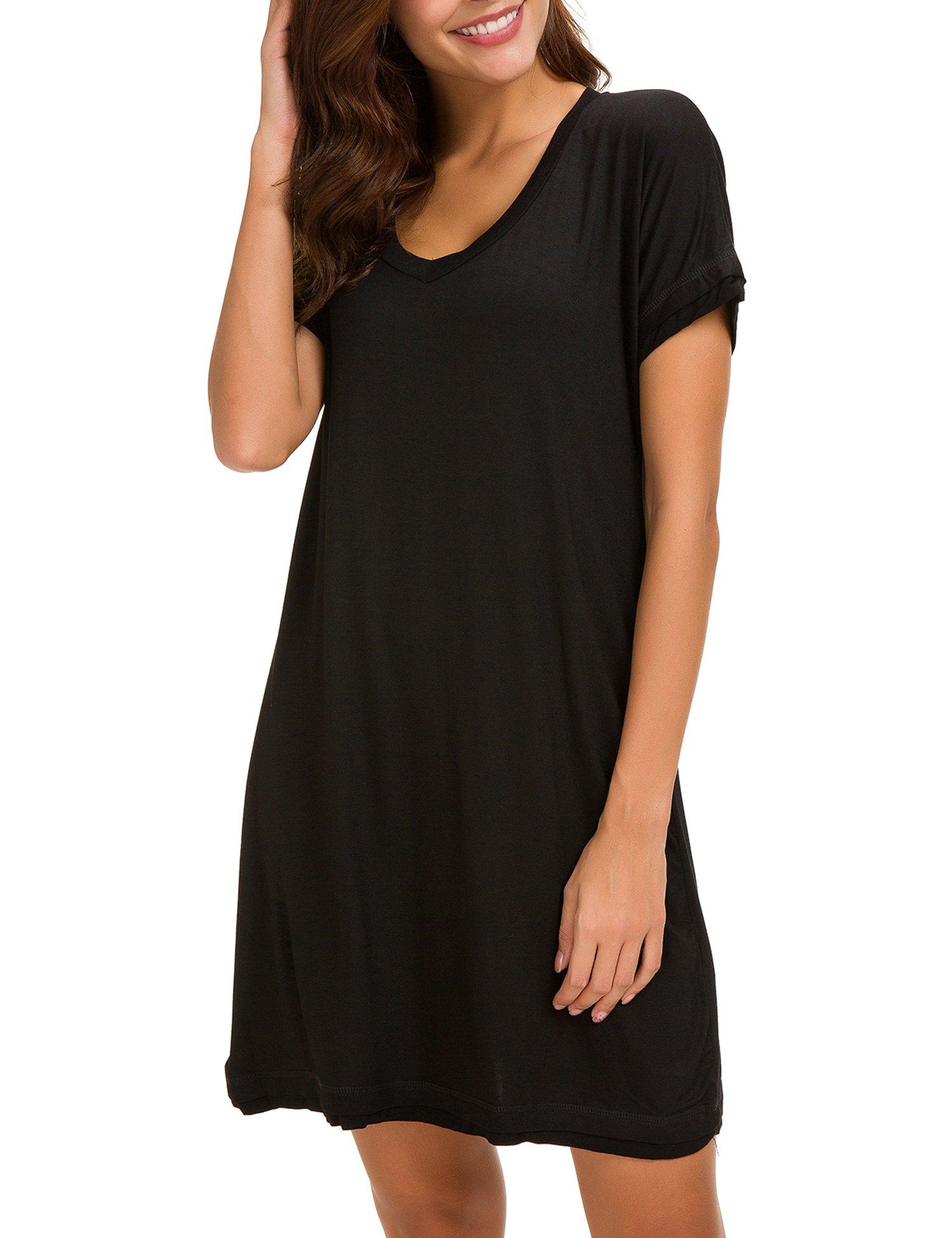 Dolay Women's Sleepwear Cotton Sleep Tee Short Sleeves Knit Sleepshirt (Black, XL) by Dolay (Image #4)