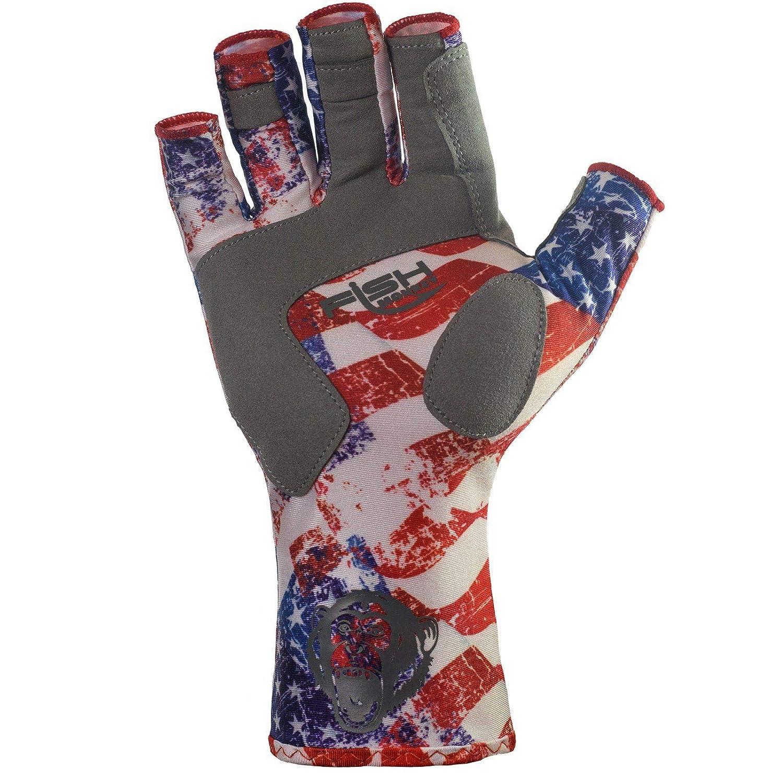 Americana Fish Monkey UPF 50 Sun Protection Half Finger Guide Glove 2XL