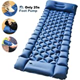 FRETREE Camping Air Sleeping Pad Mat - Foot Press Inflatable Lightweight Backpacking Pad for Hiking Traveling, Durable Waterp