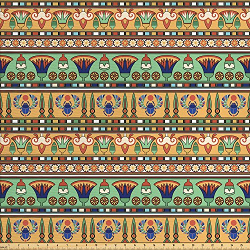 Ambesonne Egyptian Fabric by The Yard, Ethnic Motifs Pattern with Lily Flower and Scarab Figures Abstract Artistic Design, Decorative Fabric for Upholstery and Home Accents, Multicolor