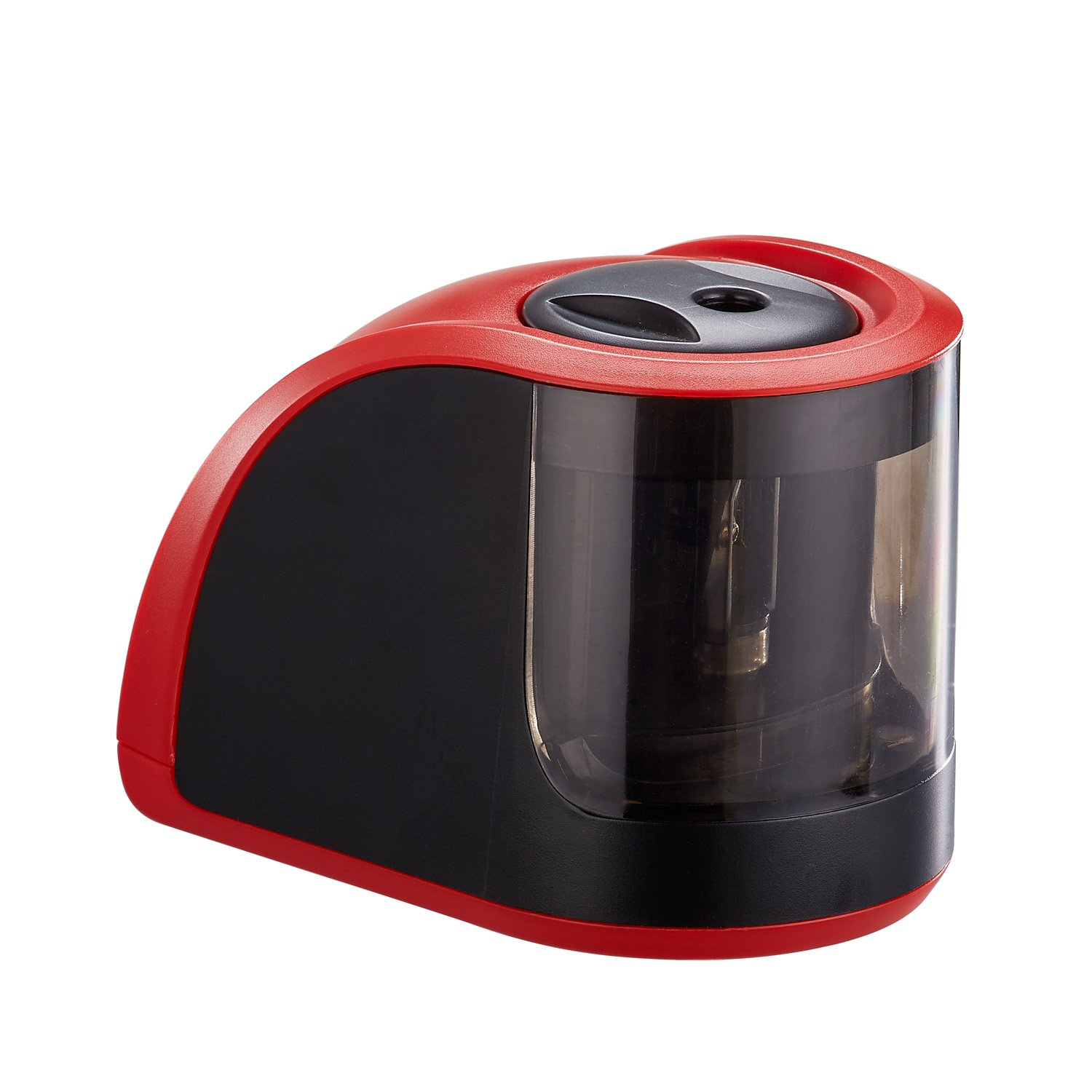 ProAid Portable Electric Pencil Sharpener - Powered by Batteries or Adapter - Perfect For Office, Kids, Artists, Red