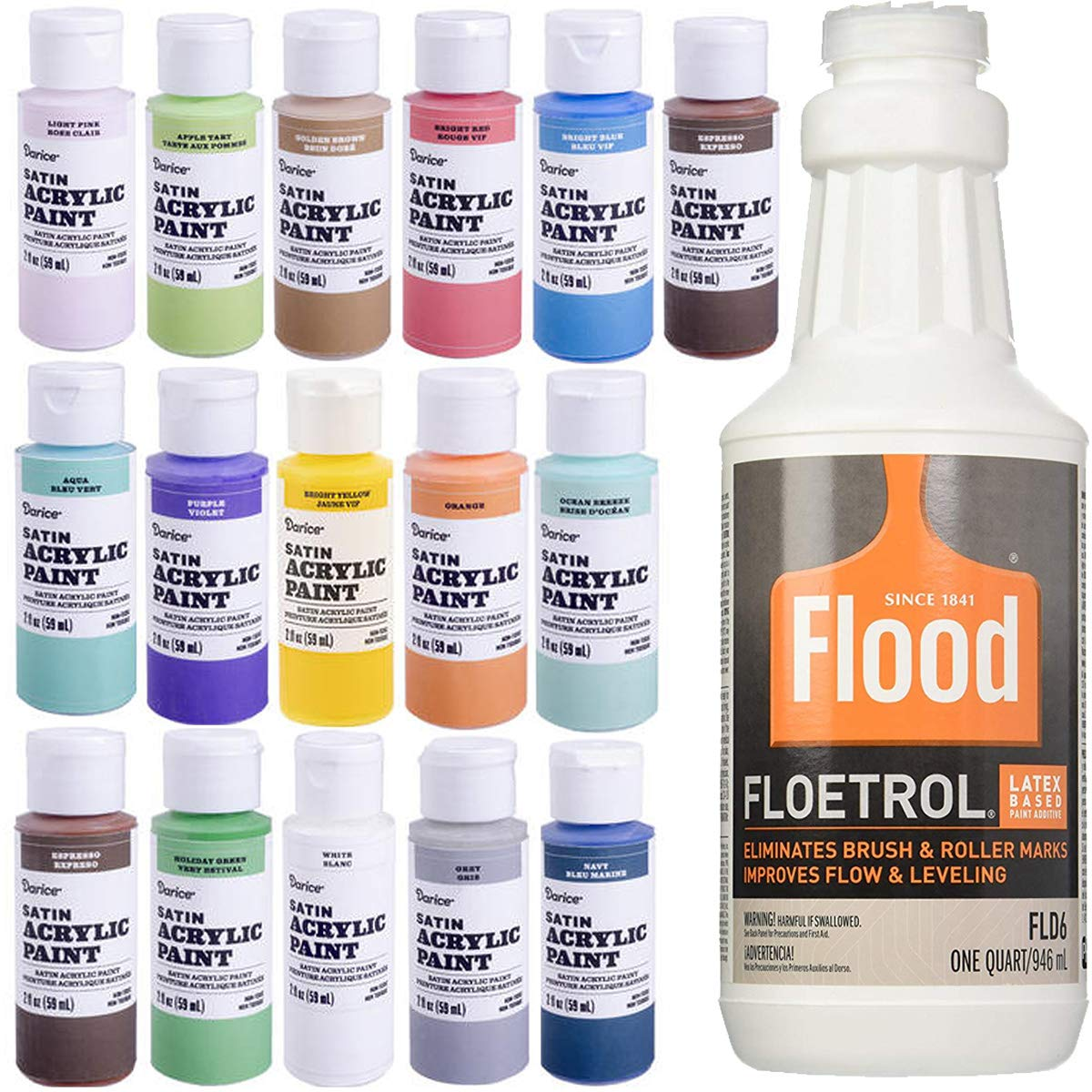 1 Quart Flood Floetrol Additive, 16 2-Ounce Acrylic Paints, 20x 6-inch Pixiss Wood Mixing Sticks PPG Darice