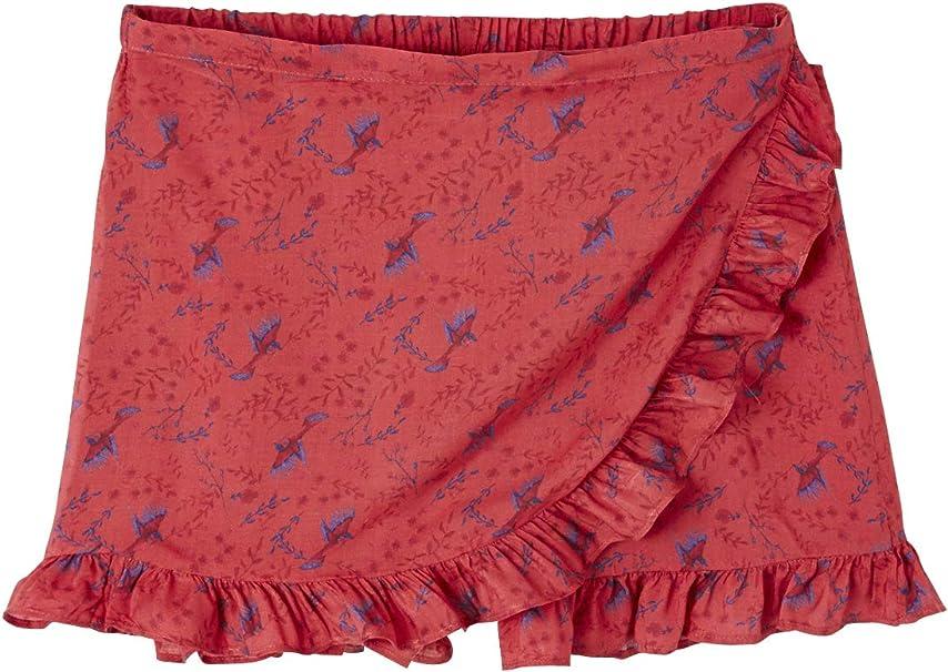 VERTBAUDET Falda Short con Volantes para niña Rojo Oscuro ...