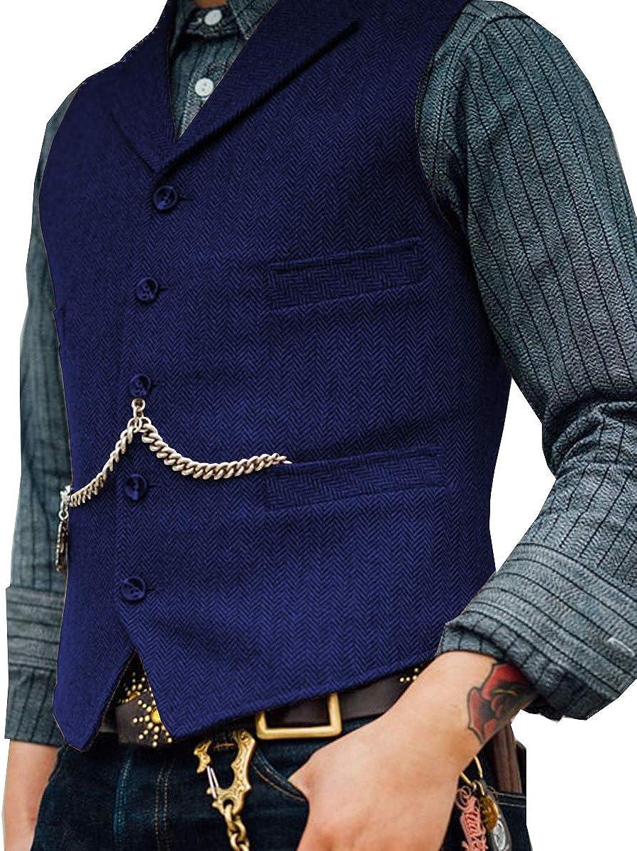 Lovee Tux Herringbone Weste Formale Business Notch Revers Anzug Weste Wolle//Tweed Weste f/ür Hochzeit