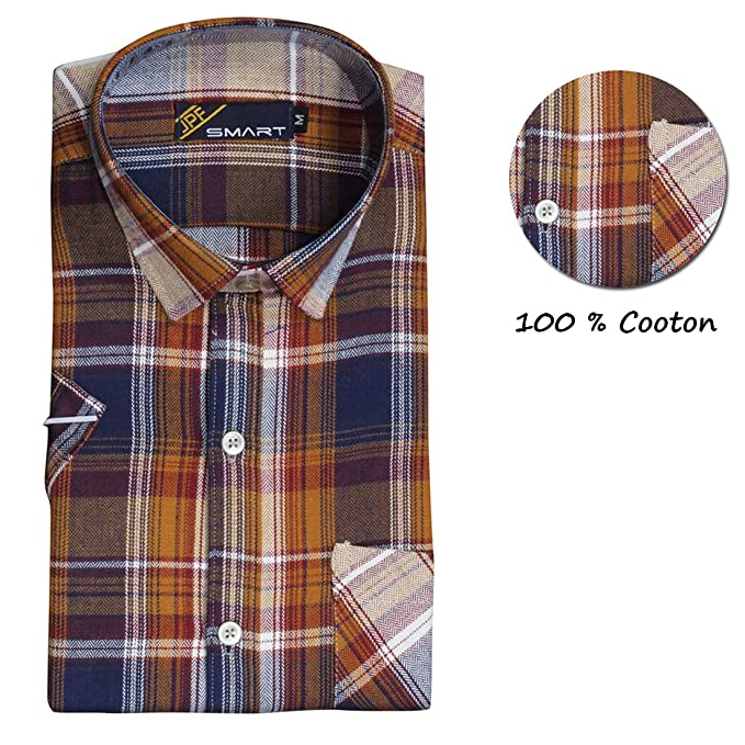 7528404dd JPF Smart Mens Checkered Cotton Regular Fit Casual Full Sleeve Shirt with Pocket  Colorful Casual Shirt for Men: Amazon.in: Clothing & Accessories