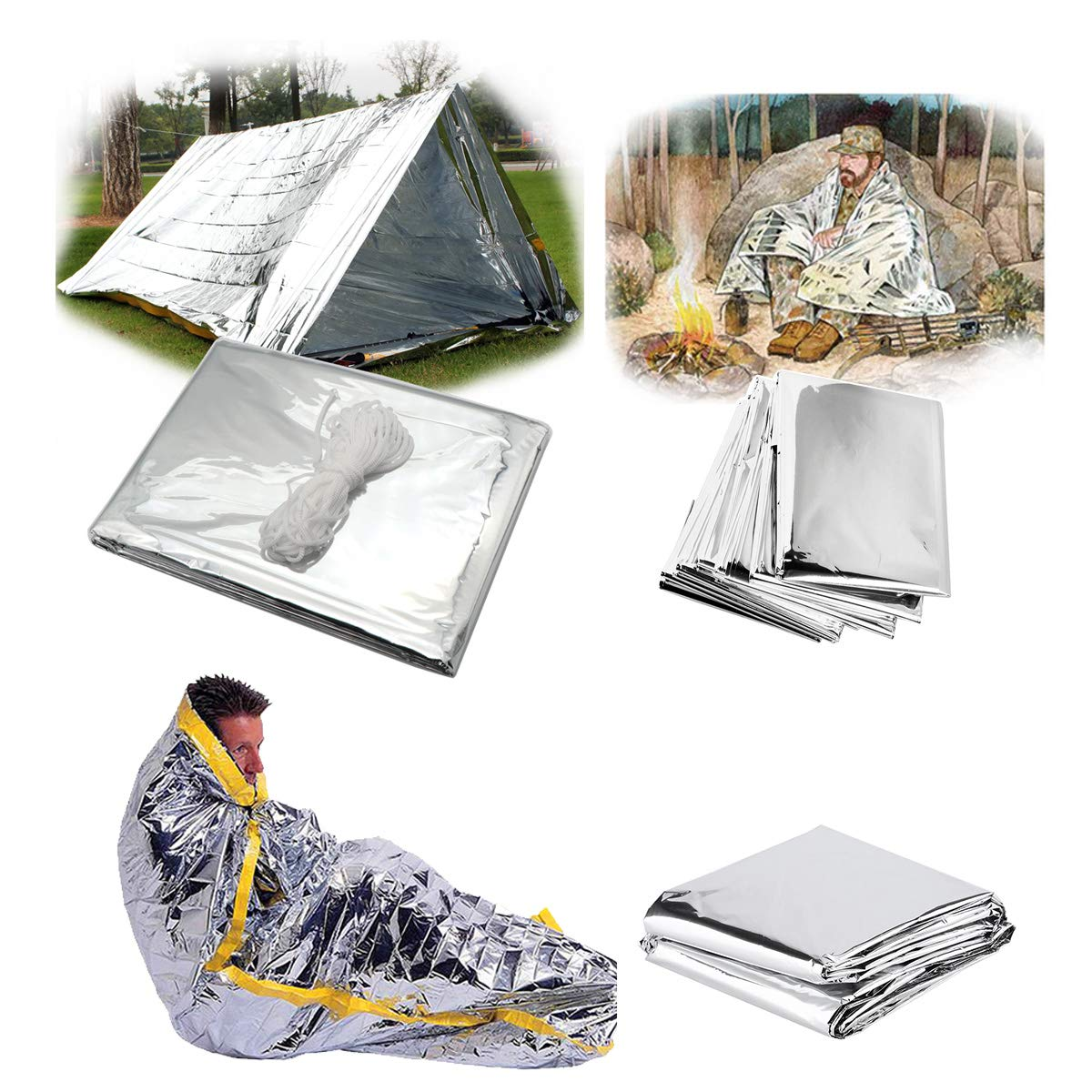Dremengo 3 in 1 Emergency Tent Sleeping Bag Blanket Mylar Thermal Blankets Outdoor Hiking Survival