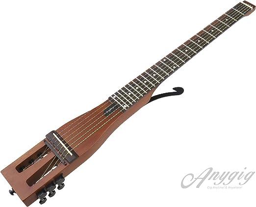 Anygig Guitarra acústica 6 cuerdas trastes portátil para viajero ...