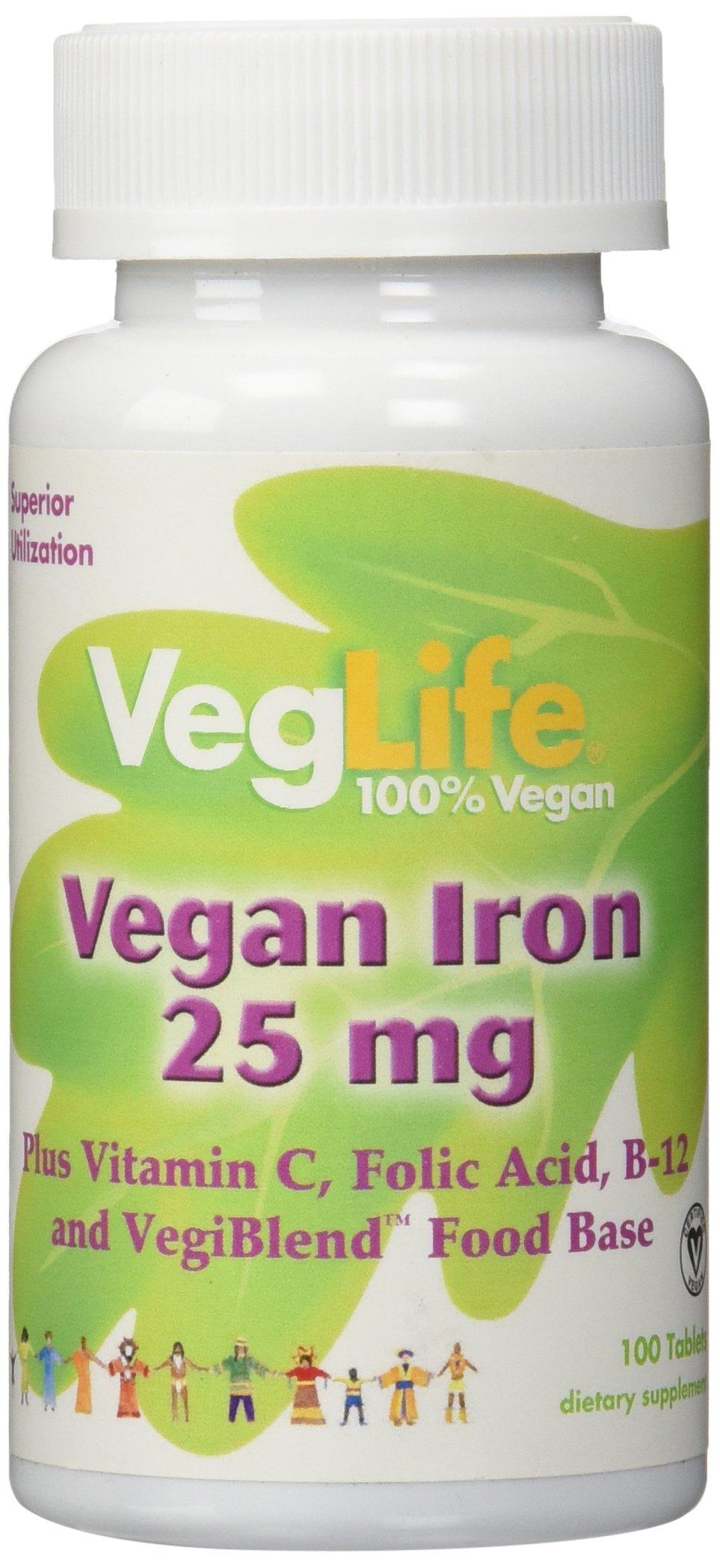 VegLife Iron Vegan Tablet, 25 mg, 100 Count