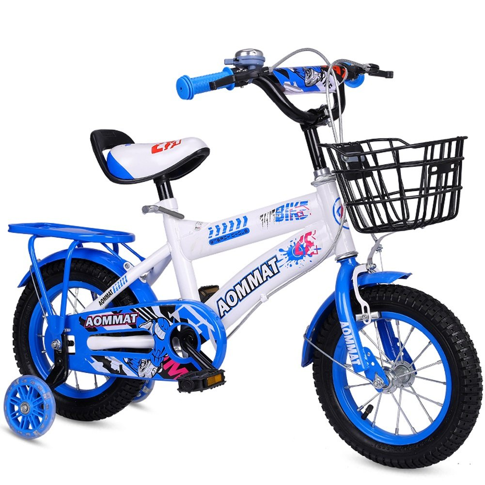 YXGH- Children Bicycle 3-6-9 Years Old Boys and Girls 12/14/16/18 Inch Baby Carriage Kid's Trike with Flash Mute Training Wheels (Color : Blue, Size : 14'')