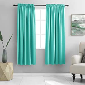 DONREN Black Out Window Curtains for Living Room - 63 Inch Room Darkening Thermal Insulated Rod Pocket Curtain Panels (Turquoise,1 Pair)