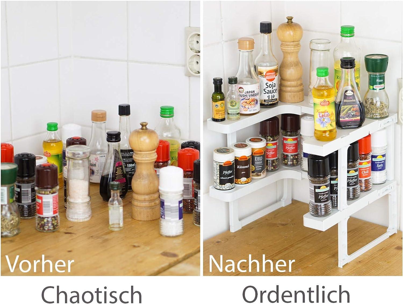 Stackable Gewürzregal Küchenregal zur platzsparenden Aufbewahrung Organizer Weiß