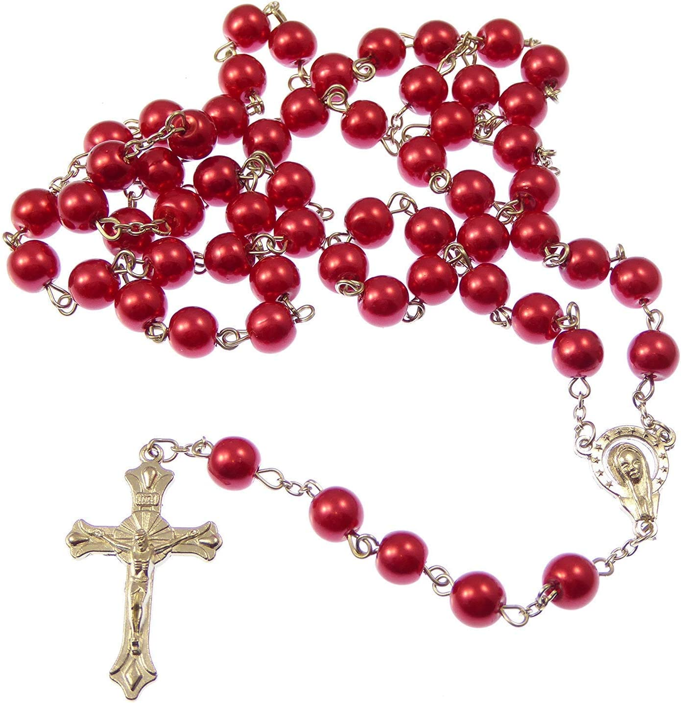 Long red metal long Catholic rosary beads with Our Lady center 12mm beads