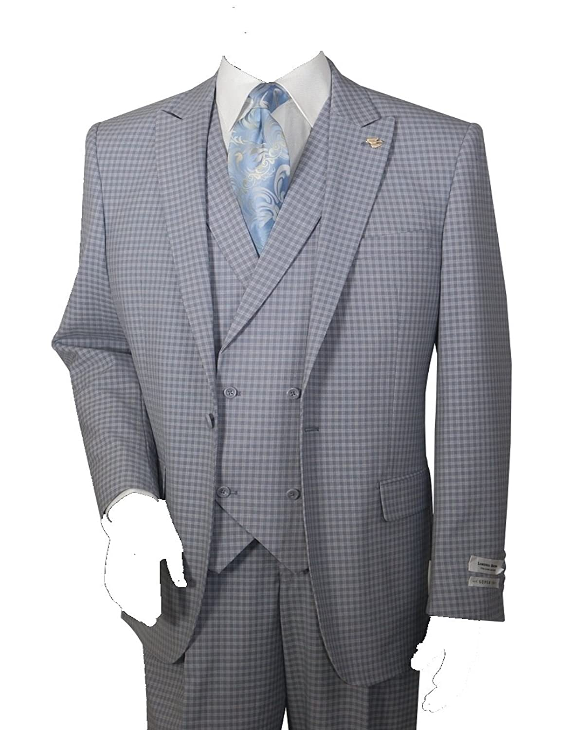 1900s Edwardian Men's Suits and Coats Mens 3 Piece Single Button Mini-Plaid Pattern Suit (Gray) $149.99 AT vintagedancer.com