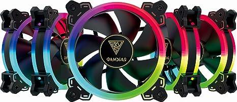 GAMDIAS Kit 5 Ventiladores RGB + CONTROLADORA Aeolus M1-1205R 5X120MM/LED RGB/Controlador: Amazon.es: Informática