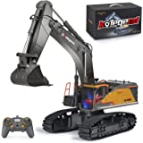 kolegend Remote Control Excavator Toy 1/14 Scale RC Excavator, 22 Channel Upgrade Full Functional Construction Vehicles Recha