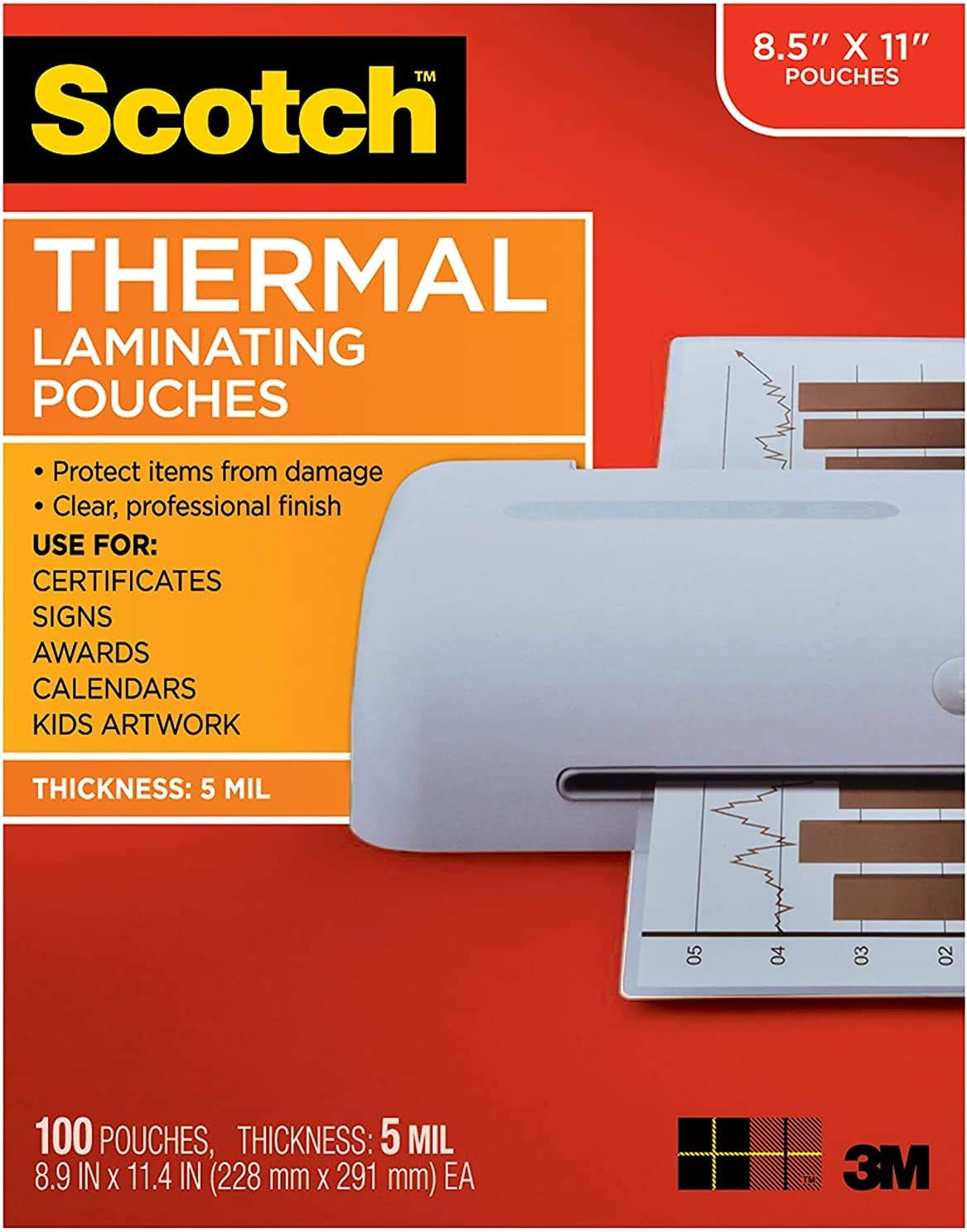 8.9 x 11.4 inches Limited Edition 5 Mil Thick for Extra Protection 100-Pack Scotch Brand Thermal Laminating Pouches Letter Size Sheets Clear TP5854-100
