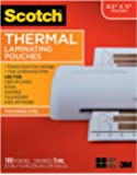 Scotch Brand Thermal Laminating Pouches, 100-Pack, 8.9 x 11.4 inches, Letter Size Sheets, Clear, (Pack 1)