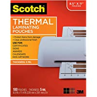 $84 » Scotch Brand Thermal Laminating Pouches, 100-Pack, 8.9 x 11.4 inches, Letter Size Sheets, Clear, 5 Mil Thick for Extra Protection (TP5854-100)(2…