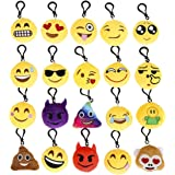 Cusfull Mini Emoji Llavero Emoji encantadora almohada almohadillas Emoticon Llavero Soft Party Bag regalo de relleno de juguete para los niños (20pcs)