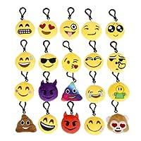 Cusfull Lot DE 20 Mini Emoji Porte-Clés en Peluche Mignon Émoticône Emoji Emoji Sac à Dos Pendentif pour Décorations Enfants Cadeau de Fête Noël Party,Soirée,Anniversaire,Cadeau de Pâques