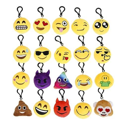 Cusfull Lot DE 20 Mini Emoji Porte-clés en Peluche Mignon Émoticône Emoji Emoji Sac à Dos Pendentif pour Décorations Enfants Cadeau de Fête Noël Party ,soirée ,Anniversaire,Cadeau de Pâques