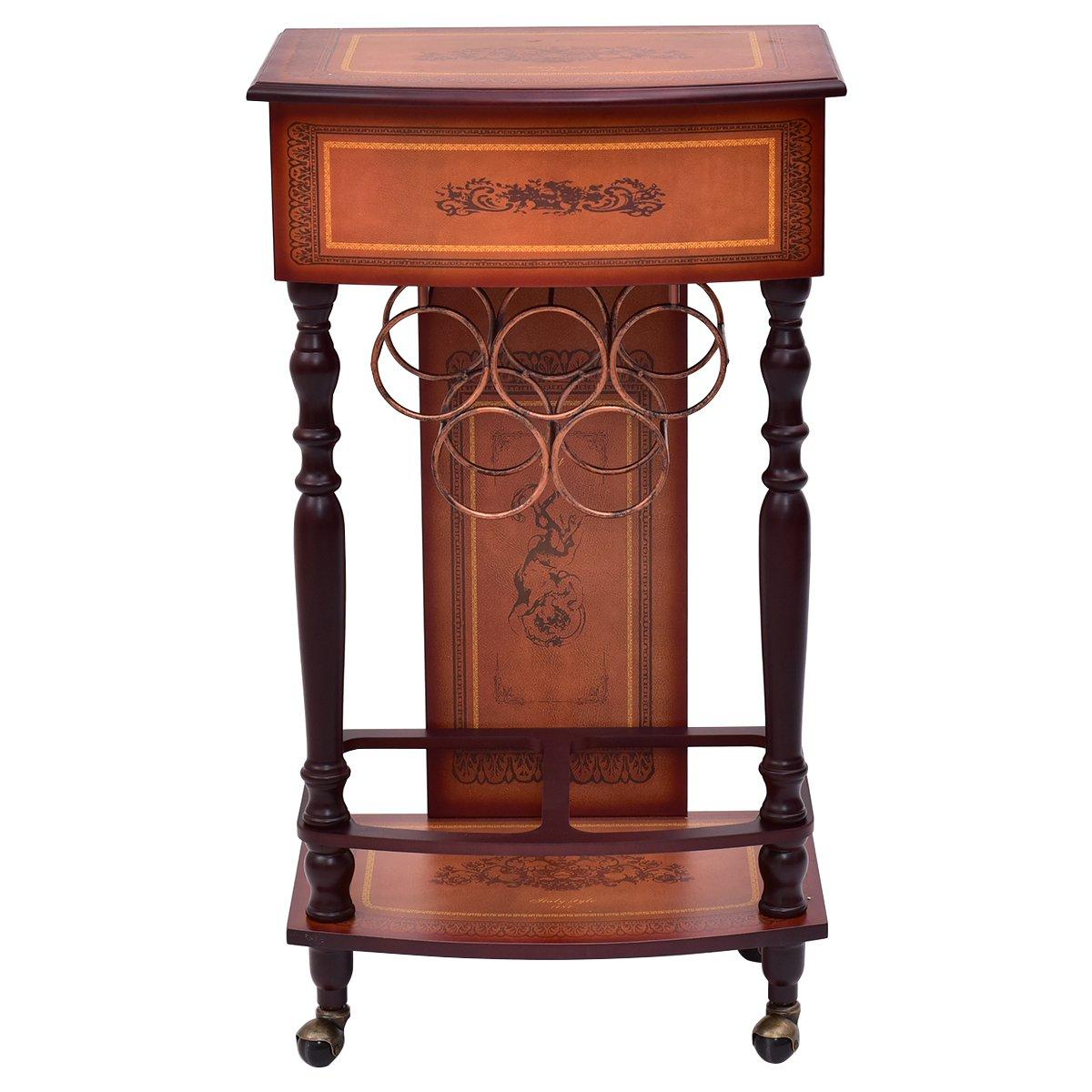 Giantex Rolling Vintage Wood Wine Cabinet Bar Stand Storage Holder Liquor Bottle Shelf