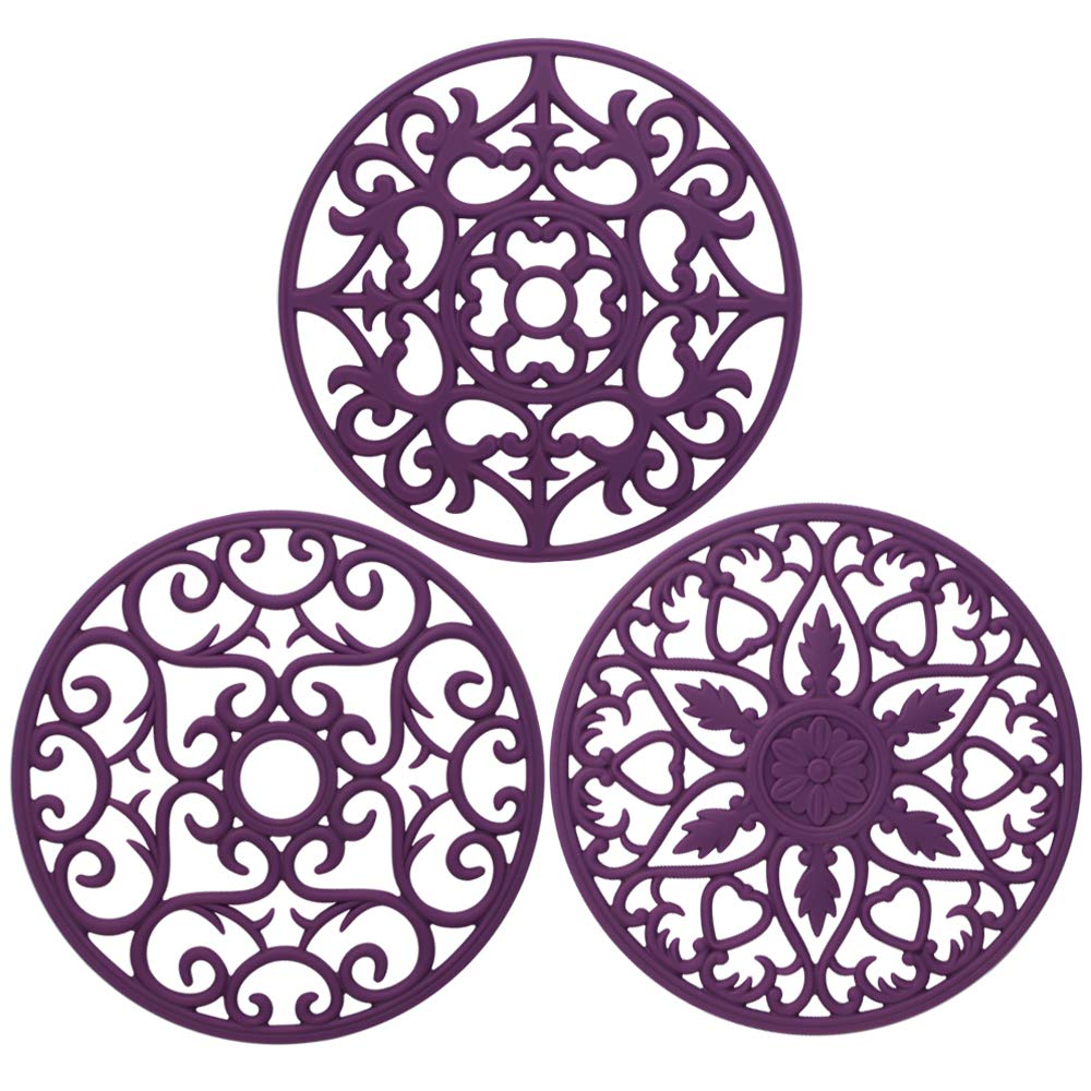 ME.FAN 3 Set Silicone Multi-Use Intricately Carved Trivet Mat - Insulated Flexible Durable Non Slip Coasters (Purple)