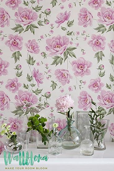 Elegant Seamless Peony Pattern Wallpaper Removable Wall Sticker