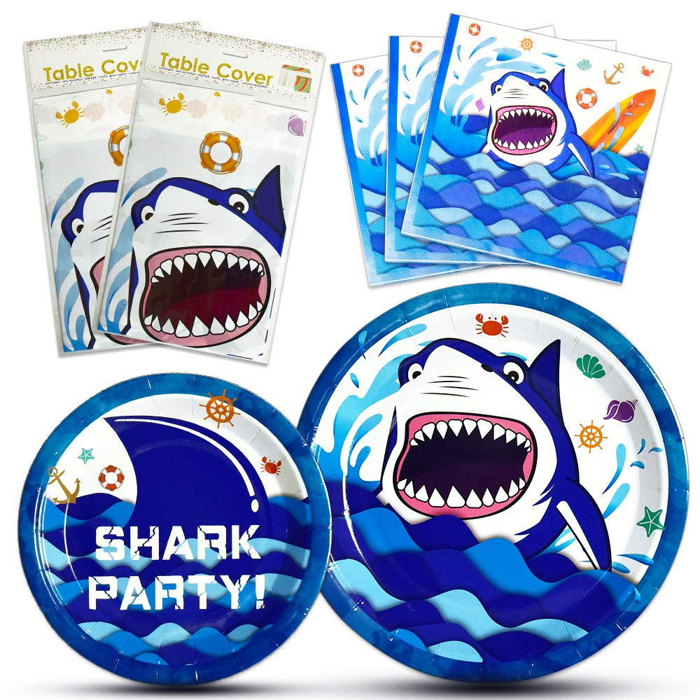 WERNNSAI Shark Party Supplies Set - Blue Ocean Pool Party Decorations for Boys Kids Birthday Banner Signs Balloons Cutlery Bag Tablecloth Plates Cups Napkins Straws Utensils Serves 16 Guests 175 PCS by WERNNSAI (Image #3)