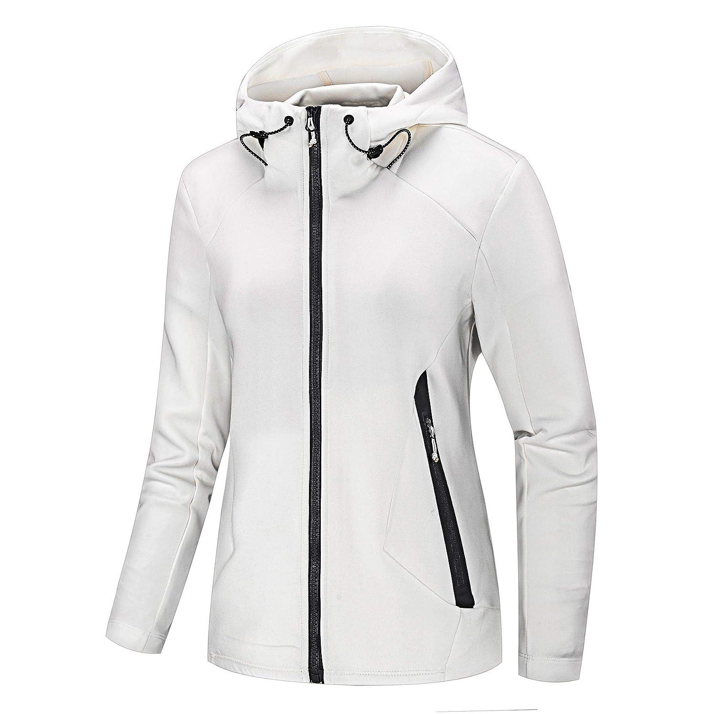 NIUDI Women' s Athletic Jacket Double Zip-Up Hoodies Windbreaker Air Layer Structure Sweatshirt for Running Slim Fit