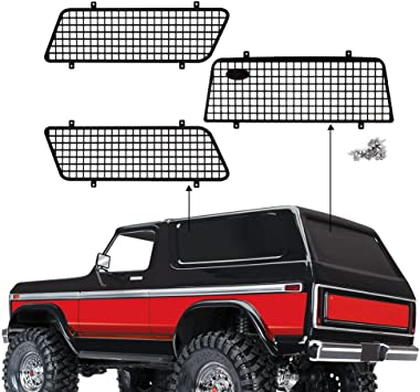 INJORA RC Ventana Malla Metal Malla Protectora RC Ventana Red para 1/10 RC Crawler Traxxas TRX4 Ford Bronco 82046-4