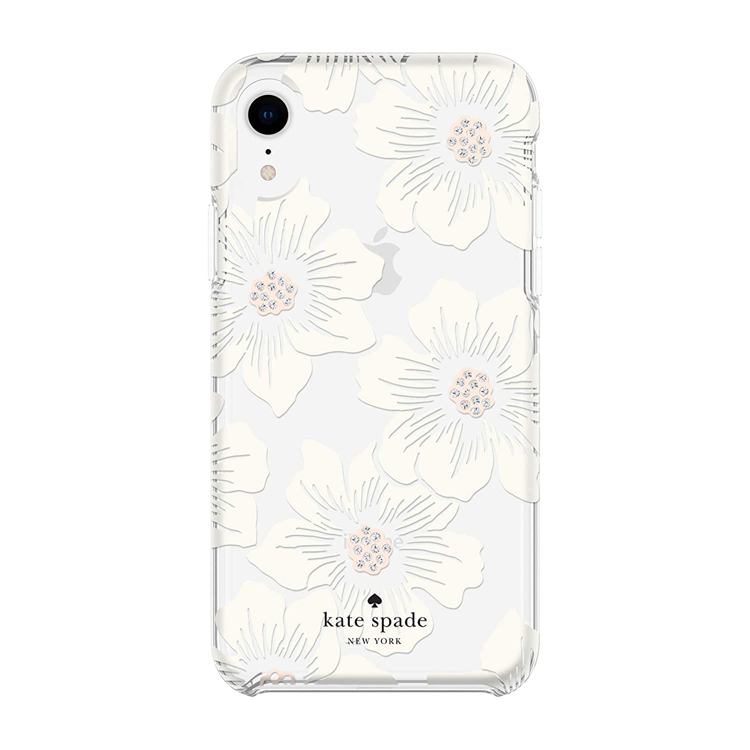 Kate Spade New York Phone Case | for Apple iPhone XR | Protective Phone Cases with Slim Design, Drop Protection, and Floral Print - Hollyhock Cream/Blush/Crystal Gems/Clear