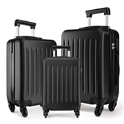"70cb47d68f63 Kono Luggage Sets 3pcs Hard Shell Suitcases with 4 Spinner Wheels Light  Weight ABS Travel Trolley Case 19"" 24"" 28"" (3 Pcs Set, Black)"
