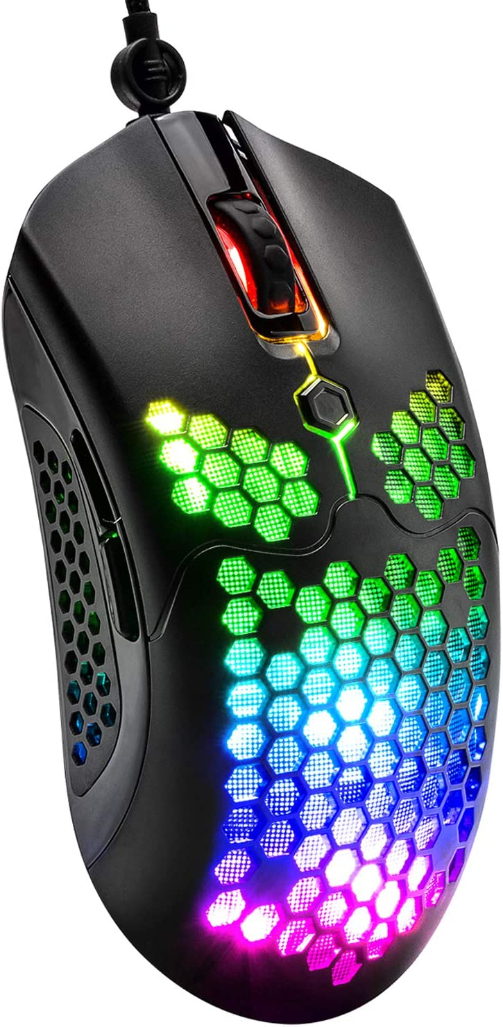 Wired Lightweight Gaming Mouse 26 Rgb Backlit Mice With 7 Buttons Programmable Driver Paw3325 12000dpi Mice Ultralight Honeycomb Shell Ultraweave Cable Mouse For Pc Gamers And Xbox And Ps4 Users Amazon Ca Electronics