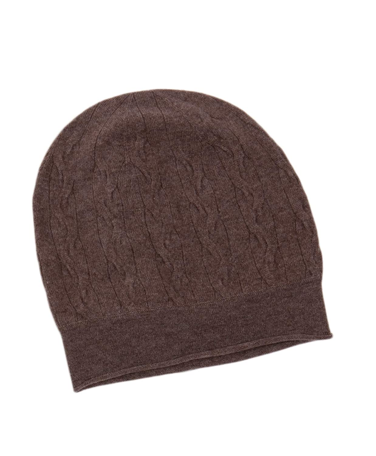 Brown LEBAC 100% Cashmere Hat Cable Knit Beanie