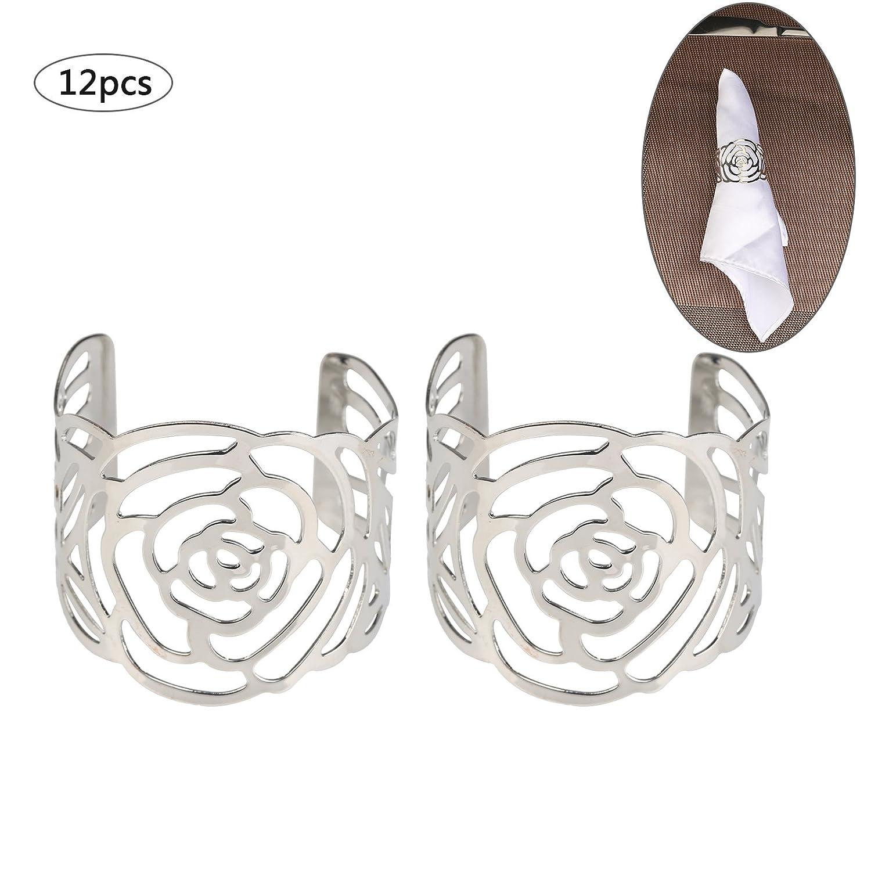 12 Pcs Rond de Serviette KAKOO Anneaux de Serviettes de table Porte-serviettes en Métal Ajouré Motif Fleur Bague Déco Pour Mariage Banquet