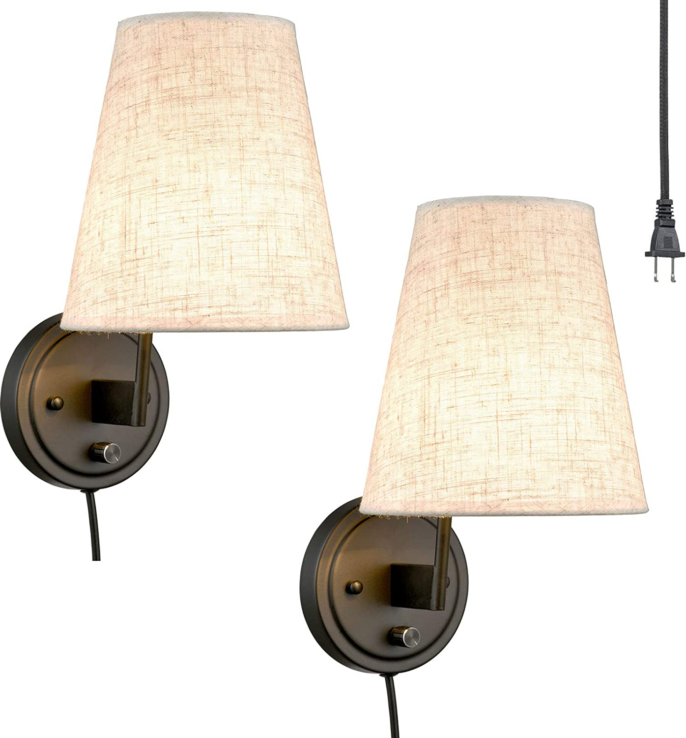 Bedroom Reading Plug-in Wall Lamp Fabric Shade Wall Sconces Light Set of 2
